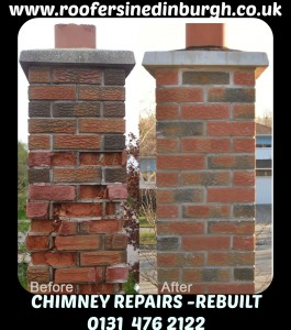 Storm Damage Chimney, chimney repairs, chimneys rebuilt, Roofers in Edinburgh